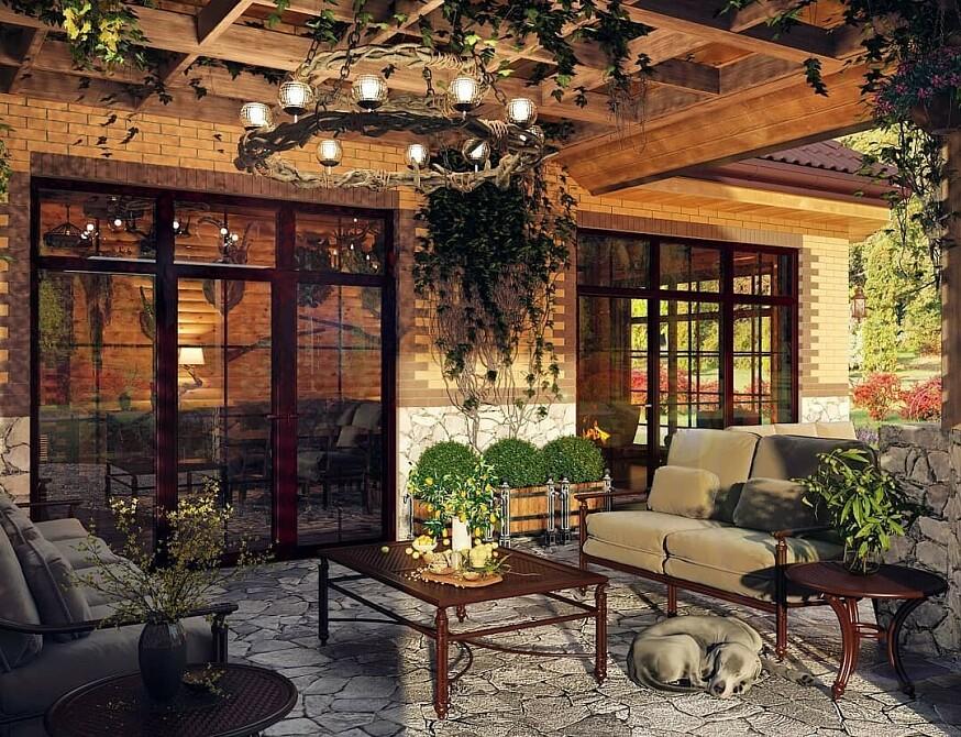 отличный рисунок, дизайн крытой теплой в частном доме фото сопряжение этих размеров